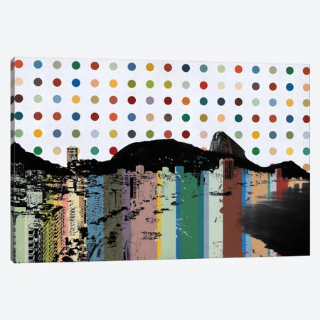 Rio de Janeiro, Brazil Colorful Polka Dot Skyline Canvas Print #SKY89} by Unknown Artist Canvas Print