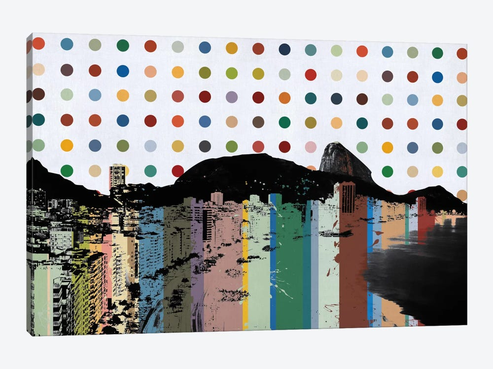Rio de Janeiro, Brazil Colorful Polka Dot Skyline by Unknown Artist 1-piece Canvas Print