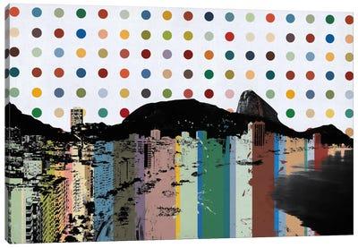 Rio de Janeiro, Brazil Colorful Polka Dot Skyline Canvas Art Print