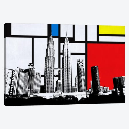 Kuala Lumpur, Malaysia Skyline with Primary Colors Background Canvas Print #SKY8} by iCanvas Art Print