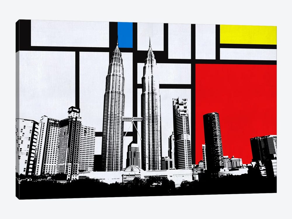 Kuala Lumpur, Malaysia Skyline with Primary Colors Background by iCanvas 1-piece Canvas Print