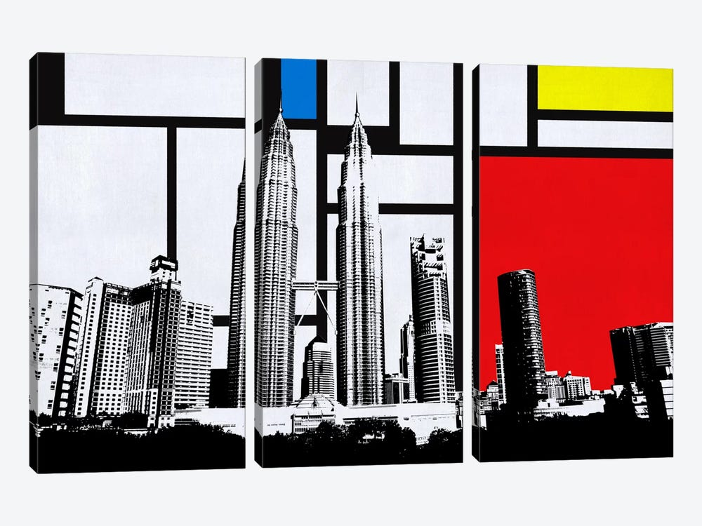 Kuala Lumpur, Malaysia Skyline with Primary Colors Background by iCanvas 3-piece Canvas Art Print