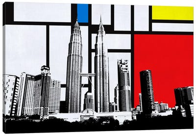 Kuala Lumpur, Malaysia Skyline with Primary Colors Background Canvas Art Print