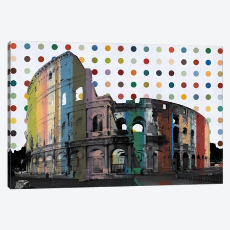 Rome, Italy Colosseum Colorful Polka Dot Skyline Canvas Print #SKY90} by Unknown Artist Canvas Artwork
