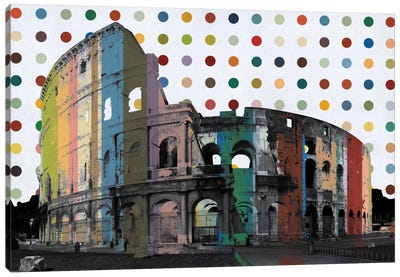 Rome, Italy Colosseum Colorful Polka Dot Skyline Canvas Art Print