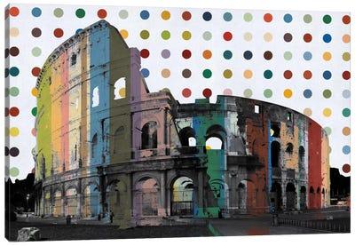 Rome, Italy Colosseum Colorful Polka Dot Skyline Canvas Print #SKY90
