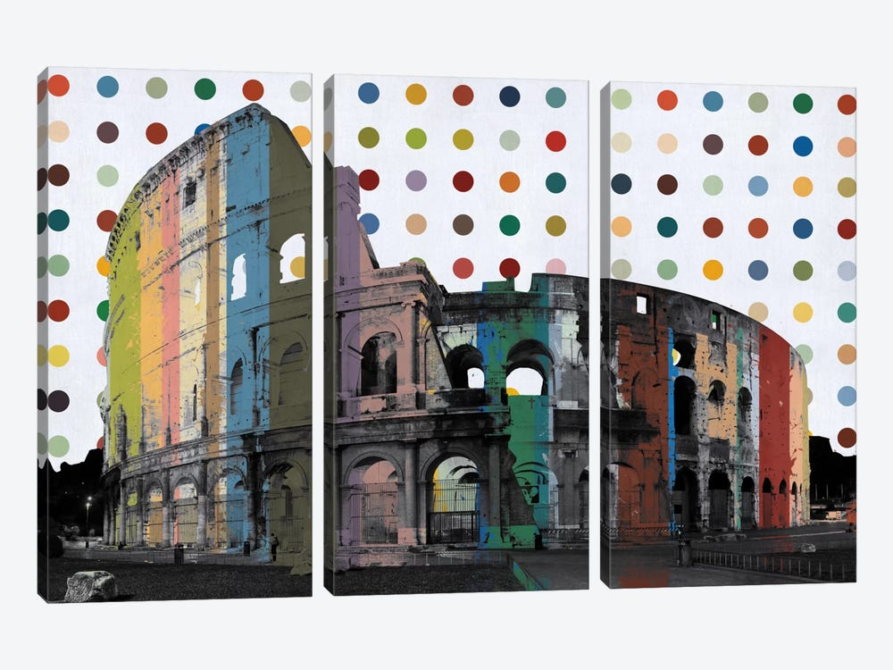 Rome, Italy Colosseum Colorful Polka Dot Skyline by iCanvas 3-piece Canvas Print