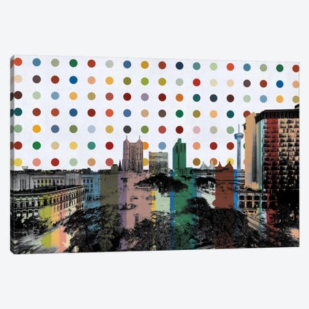 San Antonio, Texas Colorful Polka Dot Skyline Canvas Print #SKY91} by Unknown Artist Canvas Art