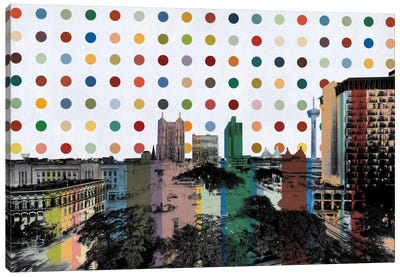 San Antonio, Texas Colorful Polka Dot Skyline Canvas Art Print