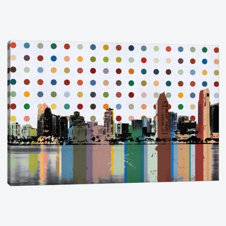 San Diego, California Colorful Polka Dot Skyline Canvas Print #SKY92} by Unknown Artist Canvas Art