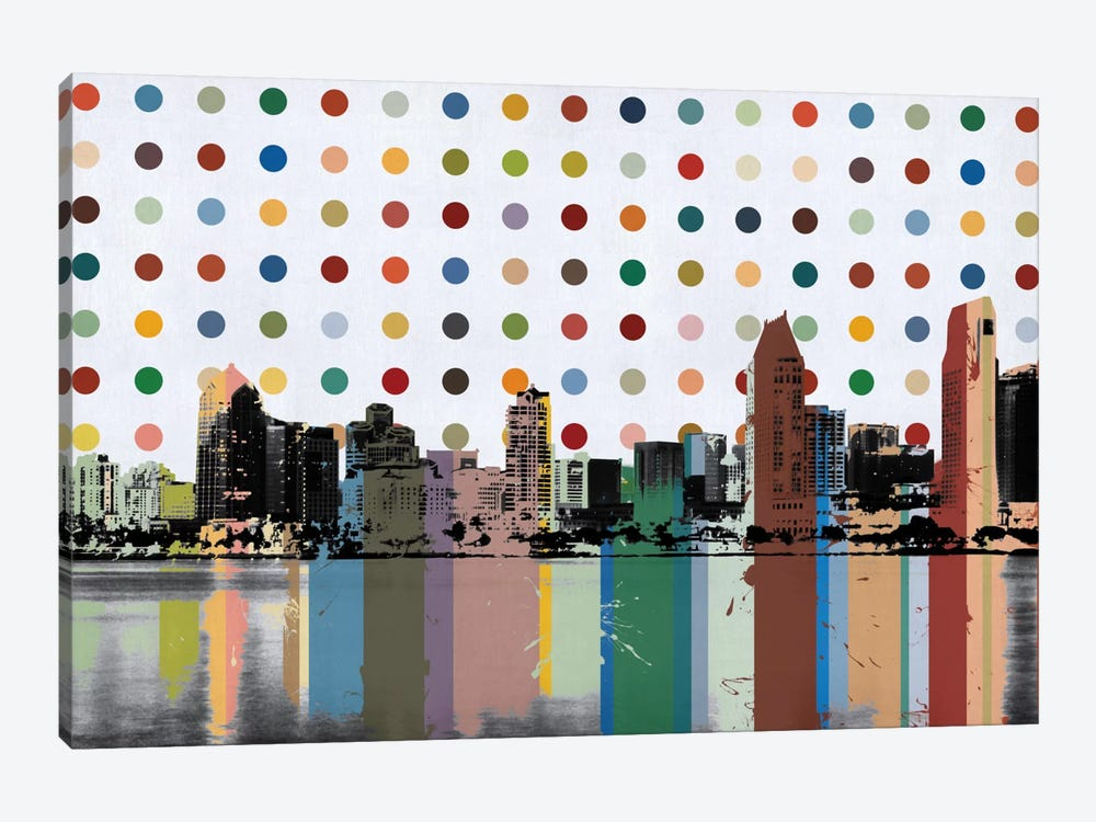 San Diego, California Colorful Polka Dot Skyline by Unknown Artist 1-piece Canvas Art Print