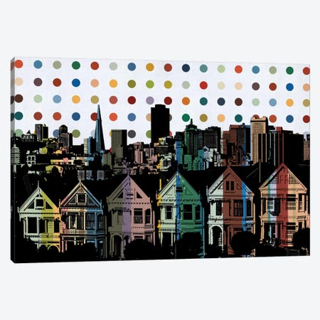 San Francisco California Colorful Polka Dot Skyline Canvas Print #SKY93} by Unknown Artist Canvas Art