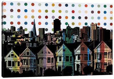 San Francisco California Colorful Polka Dot Skyline Canvas Print #SKY93