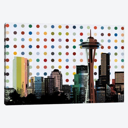 Seattle, Washington Colorful Polka Dot Skyline Canvas Print #SKY94} by Unknown Artist Canvas Art Print