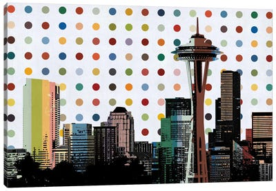 Seattle, Washington Colorful Polka Dot Skyline Canvas Art Print