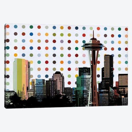 Seattle, Washington Colorful Polka Dot Skyline Canvas Print #SKY94} by Unknown Artist Canvas Art Print