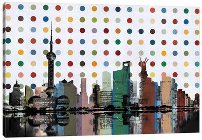 Shanghai, China Colorful Polka Dot Skyline Canvas Print #SKY95
