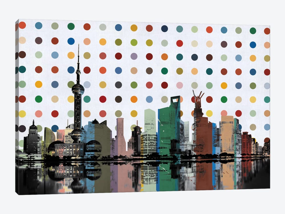 Shanghai, China Colorful Polka Dot Skyline by Unknown Artist 1-piece Canvas Artwork