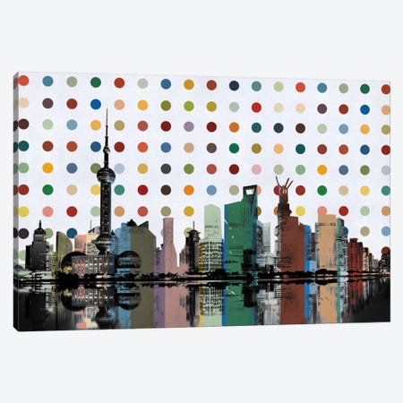Shanghai, China Colorful Polka Dot Skyline Canvas Print #SKY95} by Unknown Artist Canvas Print