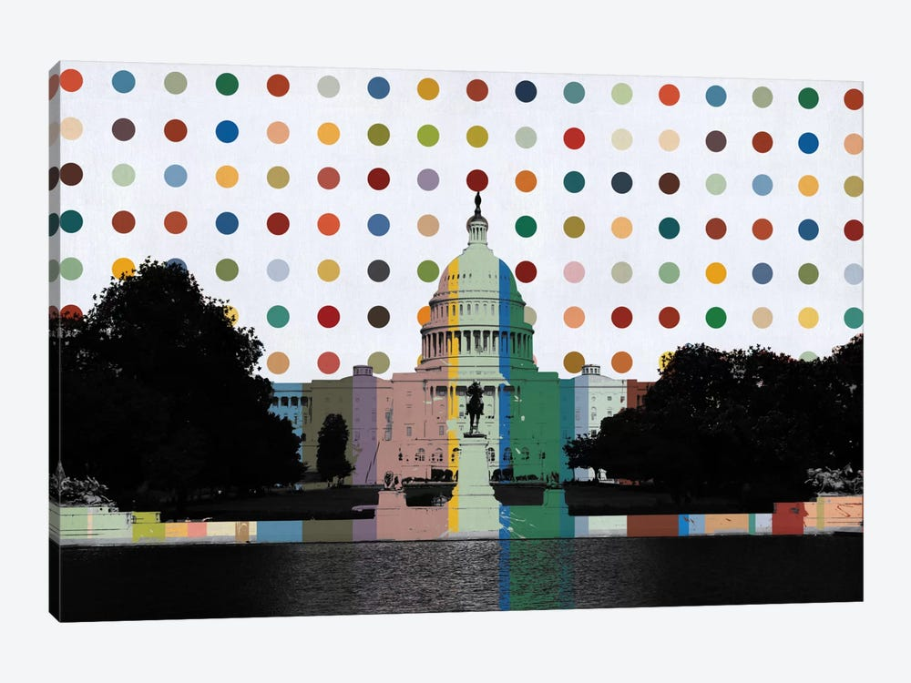 Washington, DC Spot Painting by iCanvas 1-piece Canvas Wall Art
