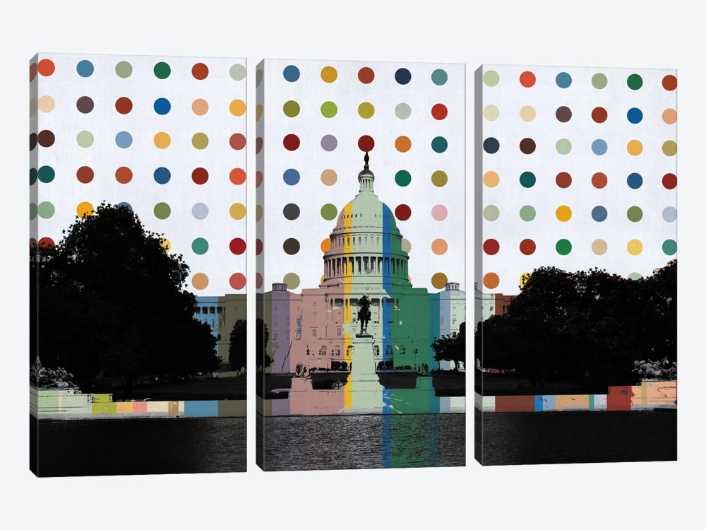 Washington, DC Spot Painting by iCanvas 3-piece Canvas Wall Art