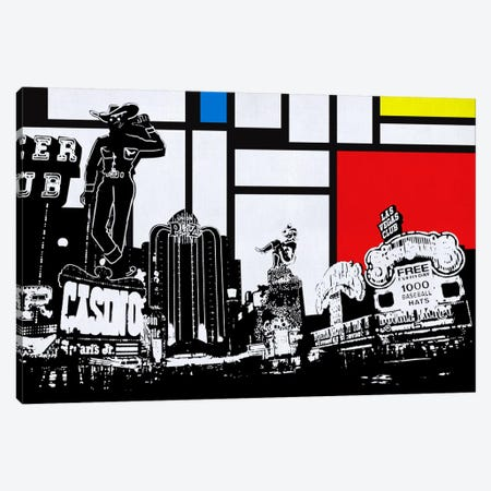 Las Vegas, Nevada Skyline with Primary Colors Background Canvas Print #SKY9} by Unknown Artist Canvas Art Print