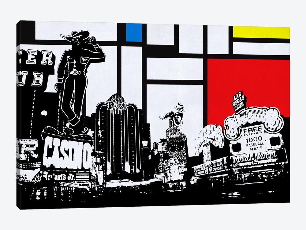 Las Vegas, Nevada Skyline with Primary Colors Background by Unknown Artist 1-piece Canvas Art
