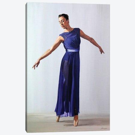 The Blue Dress Canvas Print #SLA25} by Sally Lancaster Art Print