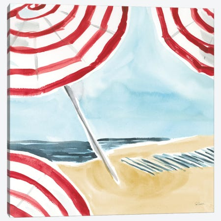 Stripes on the Beach I Canvas Print #SLB109} by Sue Schlabach Canvas Art Print