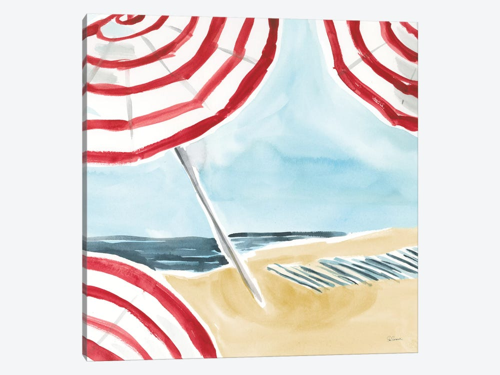 Stripes on the Beach I by Sue Schlabach 1-piece Canvas Print