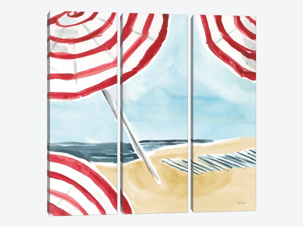 Stripes on the Beach I by Sue Schlabach 3-piece Canvas Print