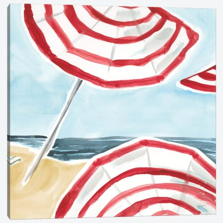Stripes on the Beach II Canvas Print #SLB110} by Sue Schlabach Canvas Wall Art