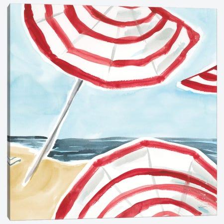 Stripes on the Beach II Canvas Print #SLB110} by Sue Schlabach Canvas Wall Art