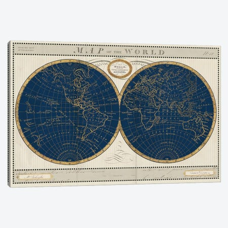 Torkingtons World Map Indigo Globes Canvas Print #SLB114} by Sue Schlabach Canvas Print