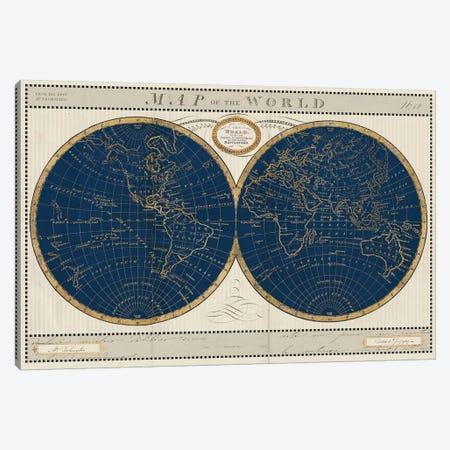 Torkingtons World Map Indigo Globes Canvas Print #SLB114} by Sue Schlabach Canvas Print