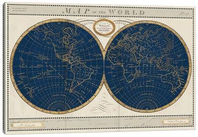 Torkingtons World Map Indigo Globes Canvas Art Print