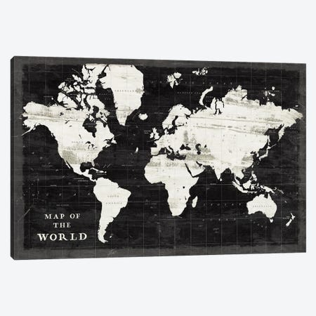 World Map Black Canvas Print #SLB115} by Sue Schlabach Art Print