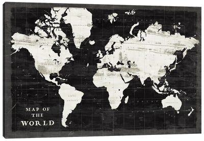 World Map Black Canvas Art Print