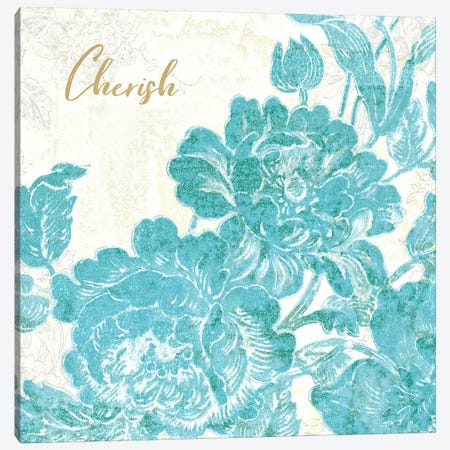 Toile Roses V Teal Cherish Canvas Print #SLB16} by Sue Schlabach Art Print