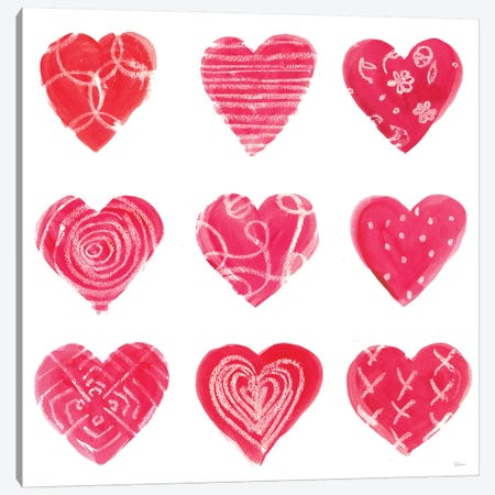 Hearts and More Hearts I Canvas Print #SLB24} by Sue Schlabach Canvas Art