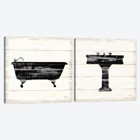 Shiplap Bath Diptych I Canvas Print Set #SLB2HSET002} by Sue Schlabach Canvas Art Print