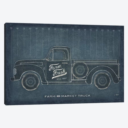 Farm Truck Blueprint Canvas Print #SLB38} by Sue Schlabach Canvas Wall Art