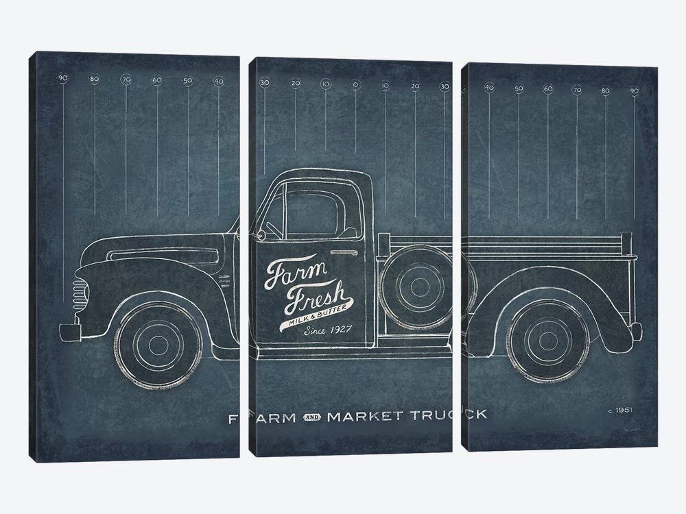 Farm Truck Blueprint by Sue Schlabach 3-piece Canvas Art Print