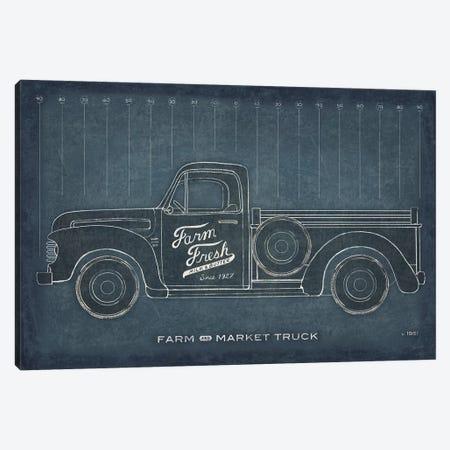 Farm Truck Blueprint Canvas Print #SLB38} by Sue Schlabach Canvas Wall Art