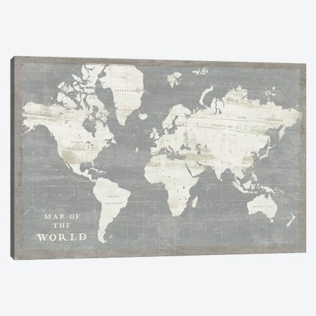 Slate World Map Canvas Print #SLB39} by Sue Schlabach Canvas Wall Art