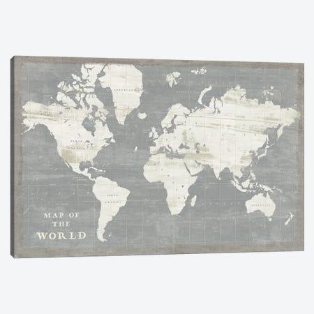 Slate World Map Canvas Print #SLB39} by Sue Schlabach Canvas Wall Art