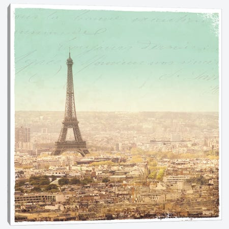 Eiffel Landscape Letter Blue II Canvas Print #SLB3} by Sue Schlabach Canvas Wall Art
