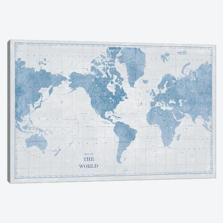 World Map White and Blue Canvas Print #SLB40} by Sue Schlabach Art Print