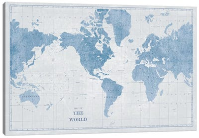 World Map White and Blue Canvas Art Print