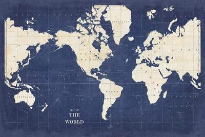 Blueprint World Map Teal Canvas Wall Art Print Blueprint Home Decor